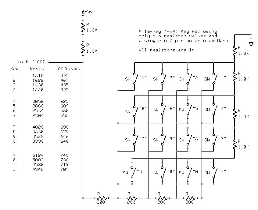 Another Way To Get A Keyboard Matrix To Work Off 1 Adc Pin